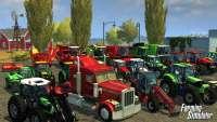 Грузовики, комбайны и тракторы на скриншоте Farming Simulator 2013