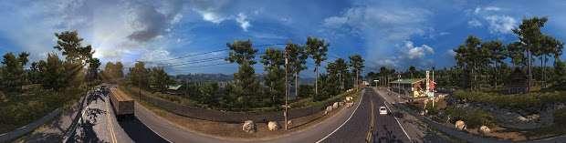 American Truck Simulator - панорама шоссе и леса