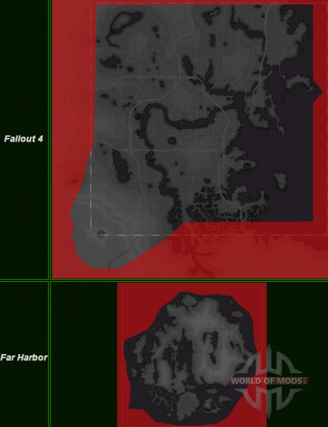 Сравнение карты Fallout 4 и Far Hrabor
