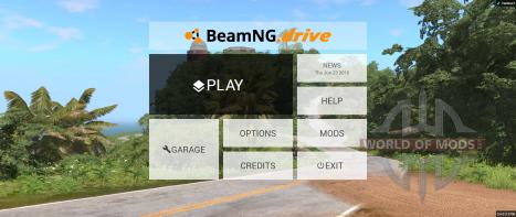 Новое главное меню BeamNG Drive
