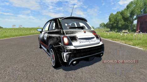 Fiat 500 Abarth White and Black для BeamNG Drive