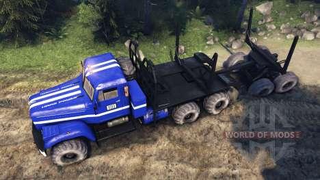 КрАЗ-255Б в синем окрасе -KrAZ Power 8- для Spin Tires