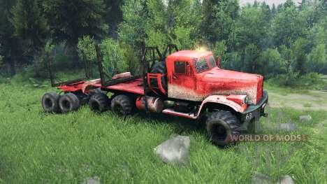 КрАЗ-255 в красном окрасе для Spin Tires