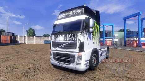 Окрас -Monster Energy- на тягач Volvo для Euro Truck Simulator 2