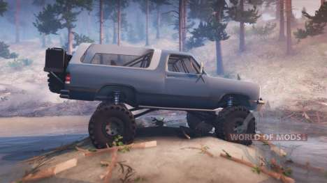 Dodge Ramcharger II 1991 blue grey-clean для Spin Tires