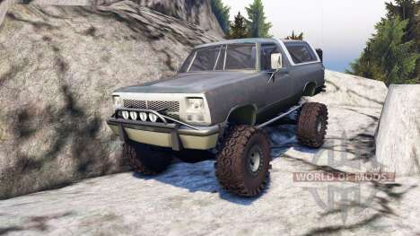 Dodge Ramcharger II 1991 grey and white для Spin Tires