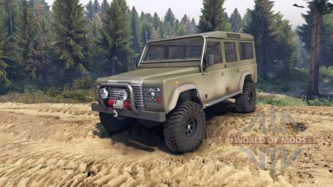 Land Rover Defender 110 dirty flat green для Spin Tires