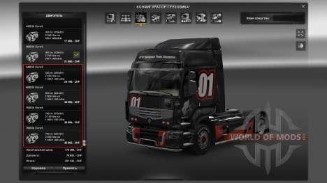 Пак двигателей для Renault Premium для Euro Truck Simulator 2
