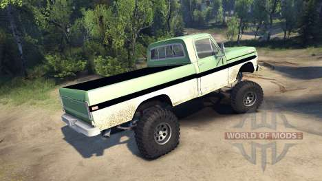 Ford F-200 1968 green and white для Spin Tires