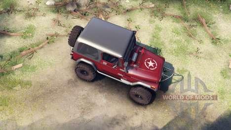 Jeep YJ 1987 maroon для Spin Tires