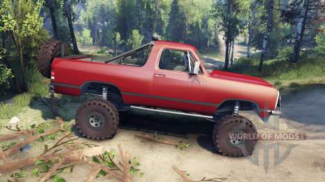 Dodge Ramcharger 1991 Open Top v1.1 blood red для Spin Tires