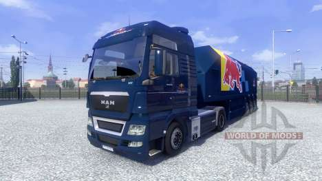 Скин Red Bull Racing Hochglanz на тягач MAN для Euro Truck Simulator 2