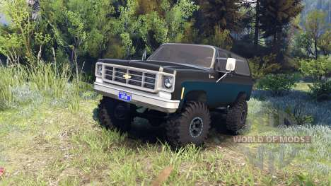 Chevrolet K5 Blazer 1975 black and blue для Spin Tires