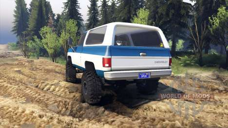 Chevrolet K5 Blazer 1975 blue and white для Spin Tires