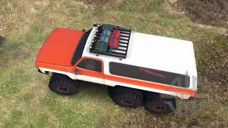 Chevrolet K5 Blazer 1975 6x6 orange and white для Spin Tires
