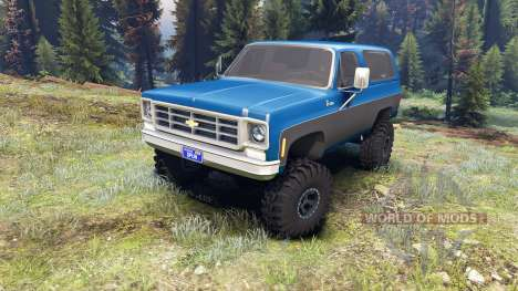 Chevrolet K5 Blazer 1975 blue and black для Spin Tires