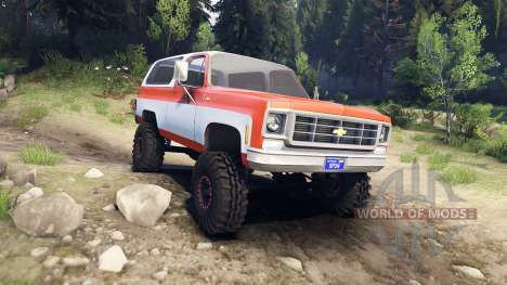 Chevrolet K5 Blazer 1975 orange and white для Spin Tires