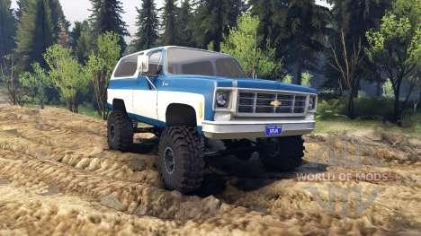 Chevrolet K5 Blazer 1975 blue and white для Spin Tires