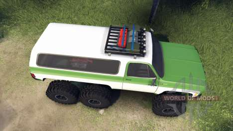 Chevrolet K5 Blazer 1975 6x6 green and white для Spin Tires