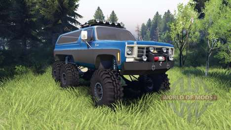 Chevrolet K5 Blazer 1975 Equipped blue and black для Spin Tires