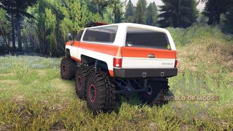 Chevrolet K5 Blazer 1975 6x6 orange and white для Spin Tires