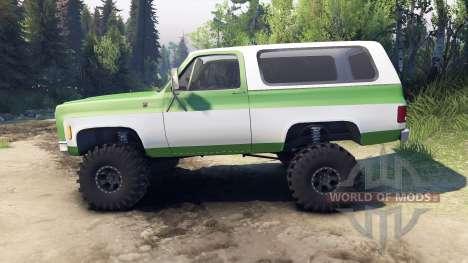 Chevrolet K5 Blazer 1975 green and white для Spin Tires