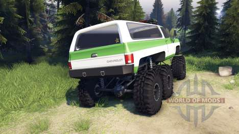 Chevrolet K5 Blazer 1975 6x6 green and white для Spin Tires