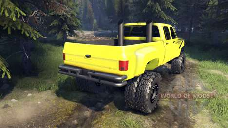 Chevrolet Silverado Dually Crew Cab v1.4 yellow для Spin Tires