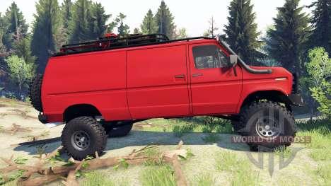 Ford E-350 Econoline 1990 v1.1 red для Spin Tires