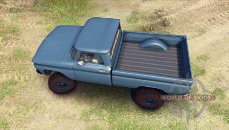 Chevrolet С-10 1966 Custom marina blue для Spin Tires