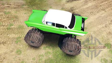 Chevrolet Bel Air 1955 Monster green для Spin Tires