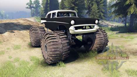 Chevrolet Bel Air 1955 Monster black для Spin Tires