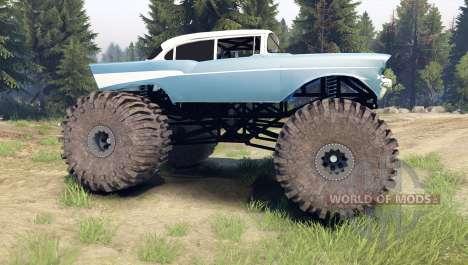 Chevrolet Bel Air 1955 Monster blue для Spin Tires