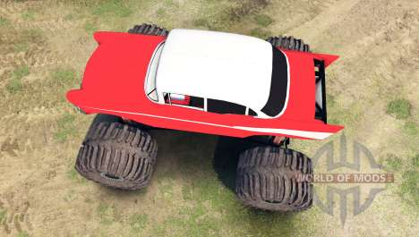 Chevrolet Bel Air 1955 Monster red для Spin Tires