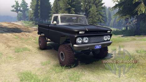 Chevrolet С-10 1966 Custom two tone tuxedo black для Spin Tires