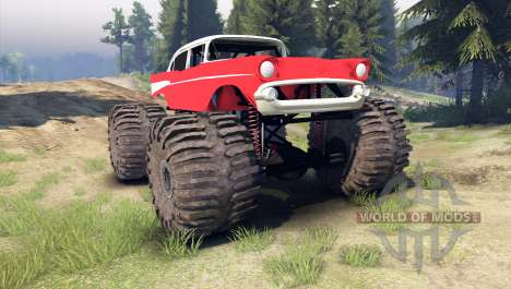 Chevrolet Bel Air 1955 Monster red для Spin Tires