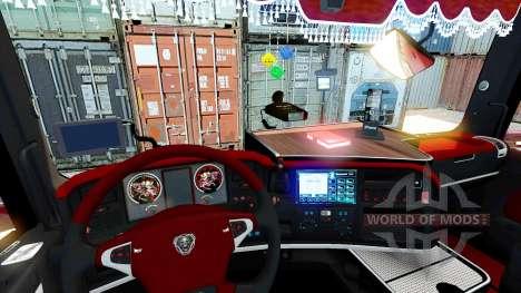 Красный интерьер Scania для Euro Truck Simulator 2