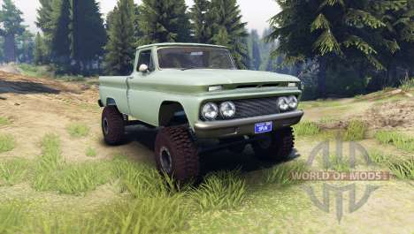 Chevrolet С-10 1966 Custom willow green для Spin Tires