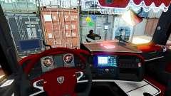 Красный интерьер Scania