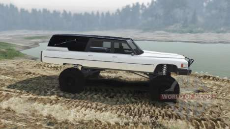 Cadillac Hearse 1975 [monster] [pale white] для Spin Tires