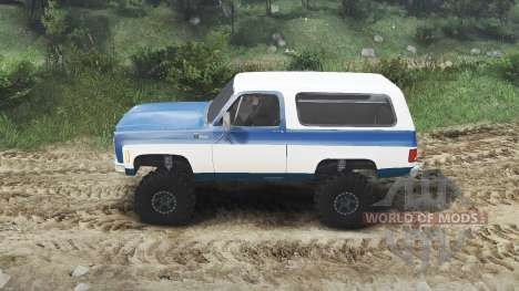 Chevrolet K5 Blazer 1975 [blue and white] для Spin Tires