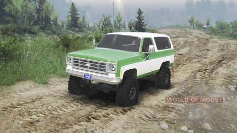 Chevrolet K5 Blazer 1975 [green and white] для Spin Tires
