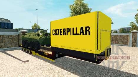 Низкорамный полуприцеп с бронетранспортёром для Euro Truck Simulator 2