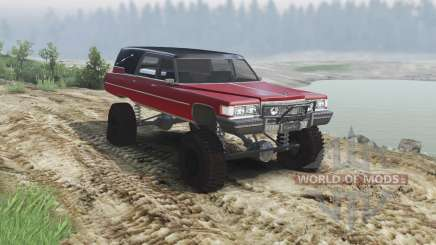 Cadillac Hearse 1975 [monster] [blood red and bl для Spin Tires