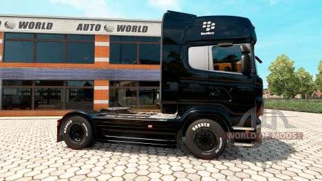 Скин BlackBerry на тягач Scania для Euro Truck Simulator 2