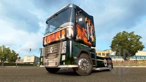 Скин Tiger на тягач Renault для Euro Truck Simulator 2