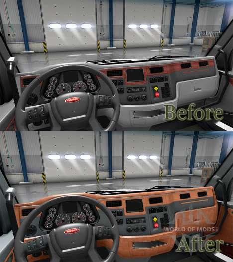 Обновлённый интерьер в Peterbilt 579 для American Truck Simulator