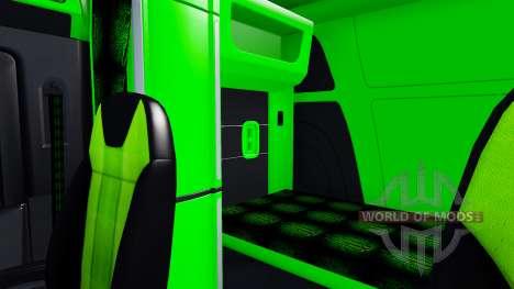 Неоновый зеленый окрас интерьера Peterbilt 579 для American Truck Simulator