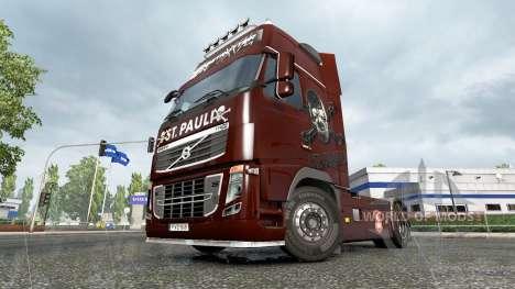 Скин FC St. Pauli на тягач Volvo для Euro Truck Simulator 2