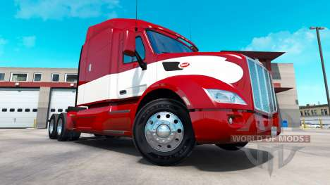 Красно-белый скин на тягач Peterbilt для American Truck Simulator